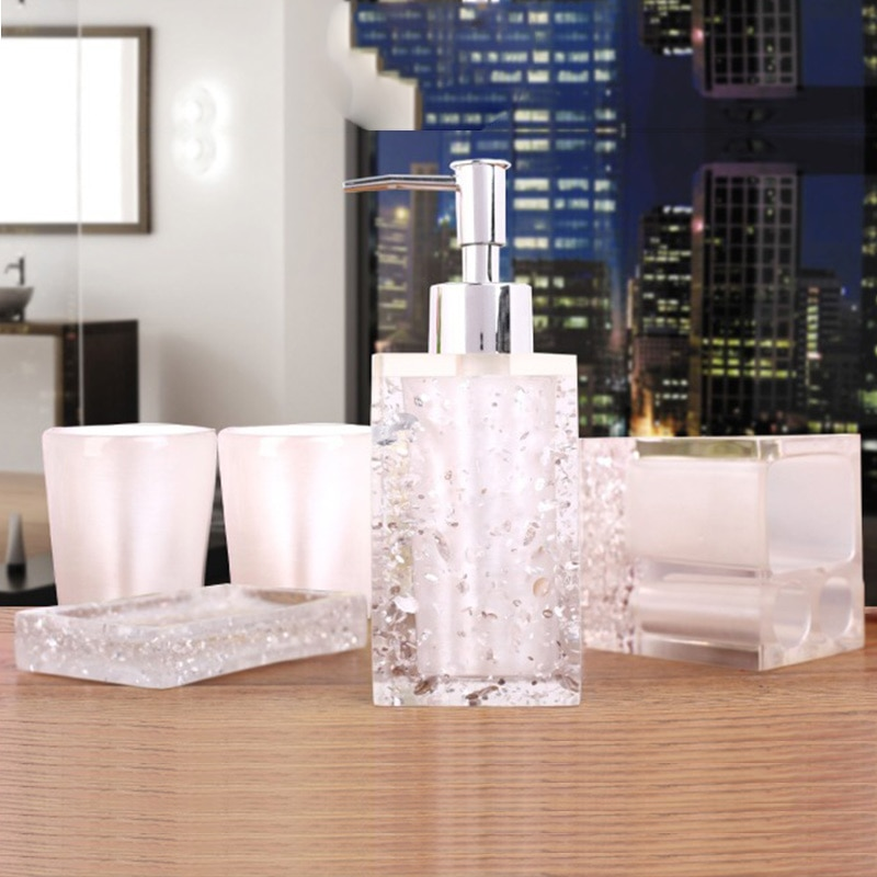 Fashion Hight-quality Resin Bathroom Five Pieces Set Sanitary Ware Kit Toothbrush Holder Lotion Bottle Bathroom Wash set Gift enlarge