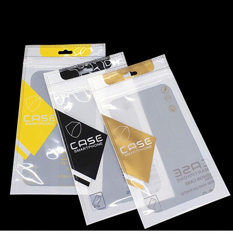 3000 piezas Amarillo/oro/Negro/teléfono caso bolsas de embalaje con Euro agujero colgante caja de la cerradura de Zip bolsas de embalaje para iPhone 7 7plus nuevo estilo