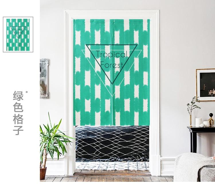 Japón estilo lino algodón planta hoja puerta cortina decoración colgante dormitorio sala de estar cocina casa bar Café