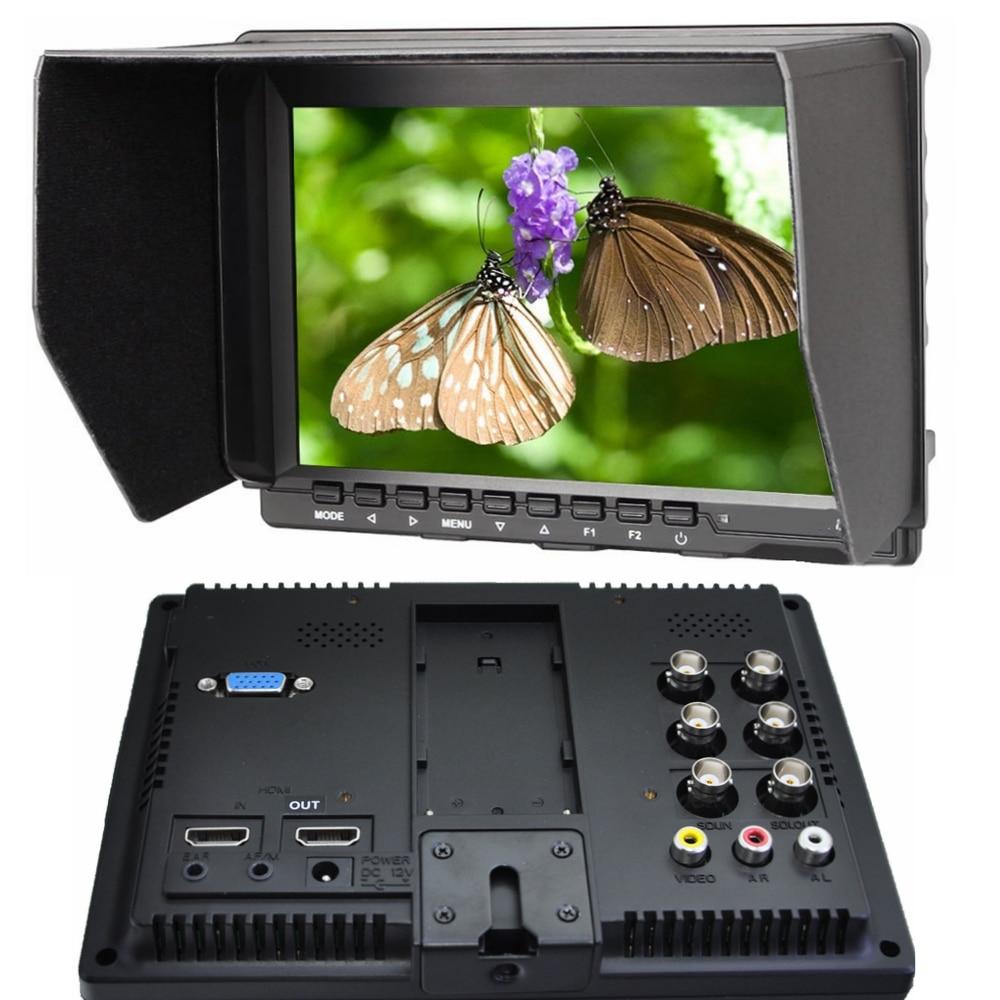 "Neue 7 ""Pro-Broadcast mit HD HDMI sdi-eingang 1280*800 IPS Bereich hd Monitor Peaking Filter 5D II Kamera Modus für BNC DSLR monitor"