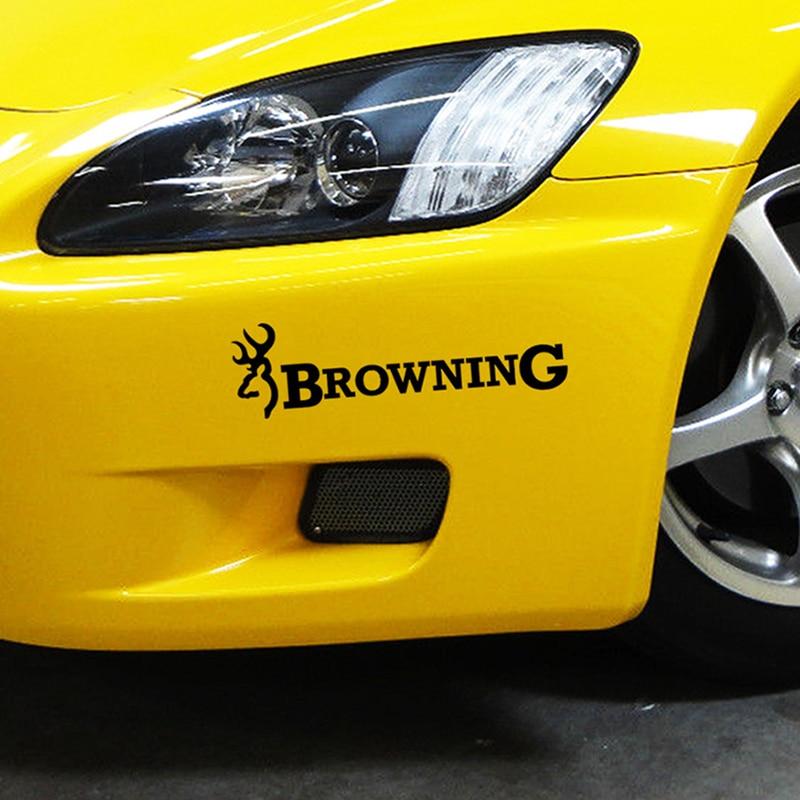 Pegatina de vinilo negra/plateada/láser para coche de 22,8x6,3 cm de Browning Hunt Deer Buck Chasse