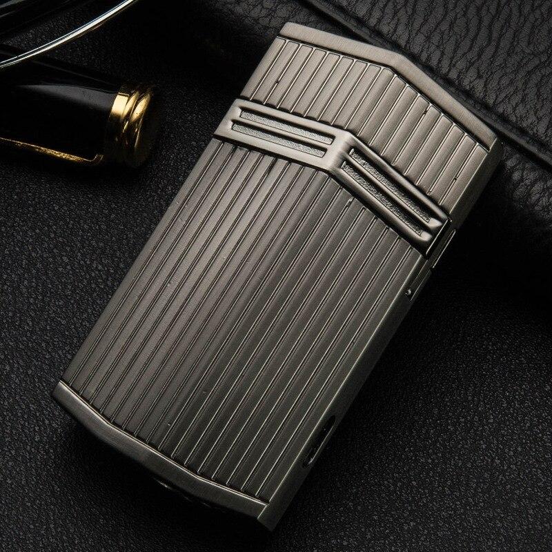 Novedoso encendedor de cigarrillos Jet Butane Torch Turbo de acero inoxidable, encendedor de Gas de lujo para fumar, encendedor de tabaco con llama
