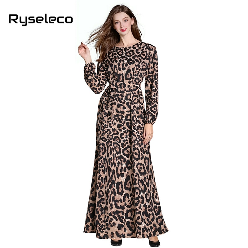 Runway Fashion Women Chic Autumn Leopard Prints Full Sleeve Long Dresses OL Beach BOHO Maxi Casual Elegant Loose X-long Dress XL