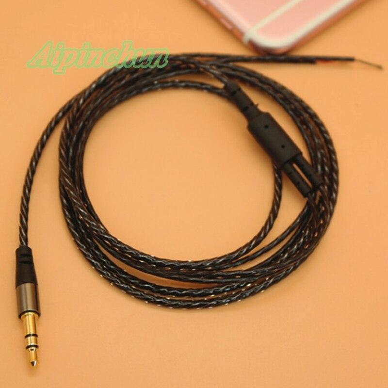 Aipinchun nuevo estilo 3,5mm 3-Pole Jack DIY Auriculares auriculares cable de audio reparación 18 cobre Core Wire 125cm AA0198