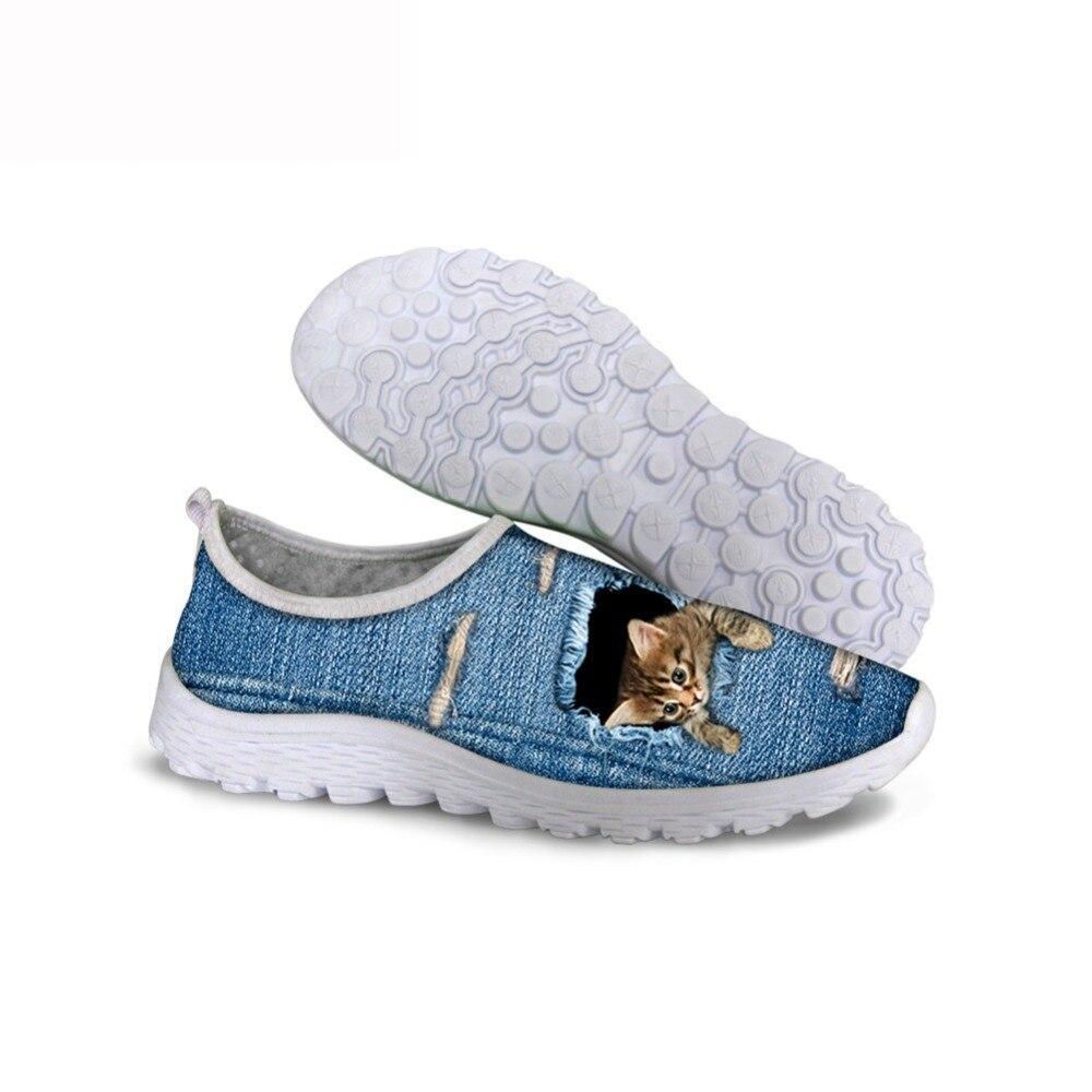 THIKIN 2019 verano malla de moda zapatos planos mujeres 3D moda diseño vaquero encantadores gatos populares estudiantes zapatillas deportivas para señoras