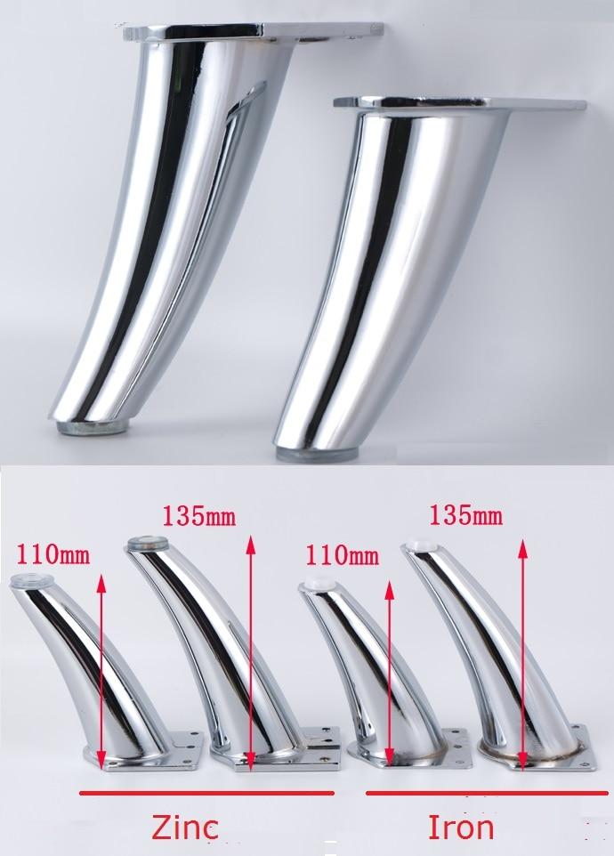 4 قطعة/الوحدة Premintehdw الزنك الحديد يميل الساق قدم الكروم أريكة الأثاث مع مسامير