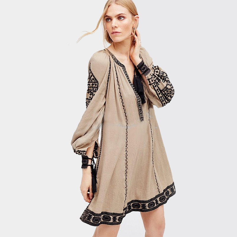 Khale Yose, этническое платье с длинным рукавом, с кисточками, бохо, хиппи, шикарное женское платье с вышивкой, хлопковые, цыганские, винтажные пл...