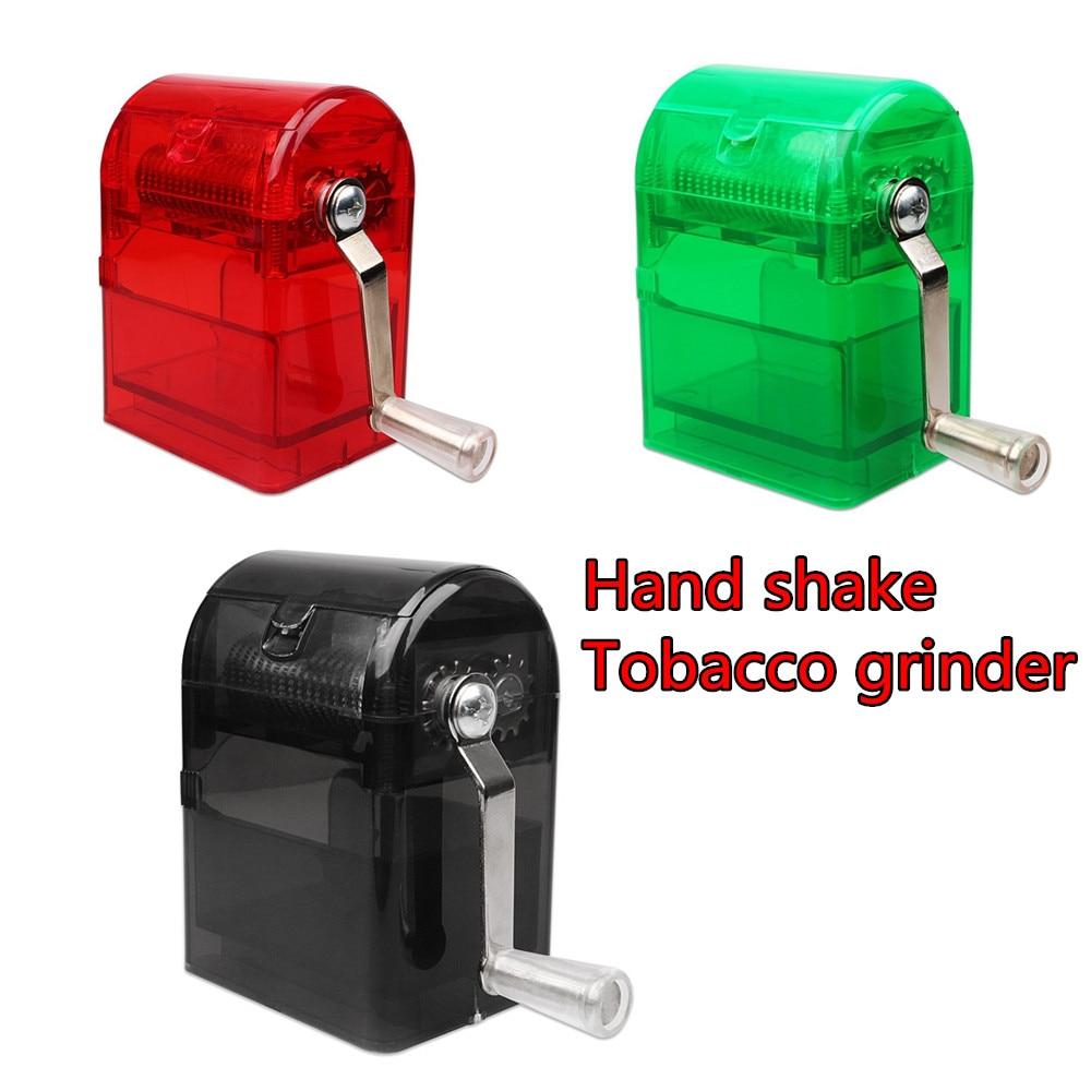 Máquina de fumar triturador mão manivela triturador cortador de tabaco moedor mão muller shredder fumar caso cigarro injector rolo