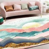 Fashion abstraction mat Powder green landscape sun Living room anti-slip door mat bedroom Bedside rug customize plush carpet