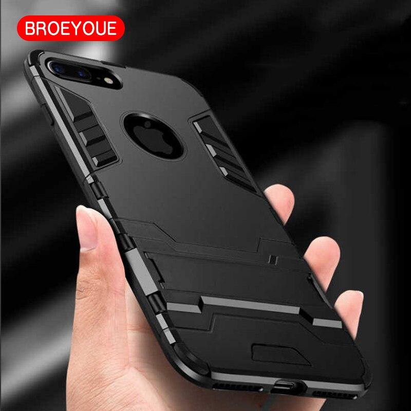 BROEYOUE Coque para iPhone 8X7 5 SE 5S 6 6 S 7 Plus funda armadura híbrida silicona dura funda protectora de teléfono delgada de goma Iron Man