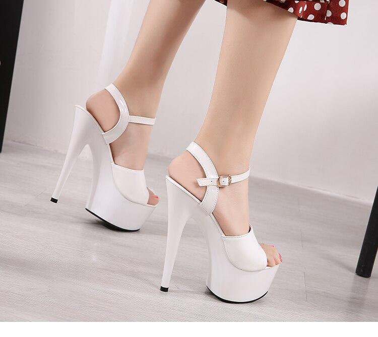 Sandalias Zapatos de Mujer Zapatos de tacón claros plataforma 2019 playa sandalias Sexy zapatos de boda acero tubo baile chica zapatos de stripper punta abierta