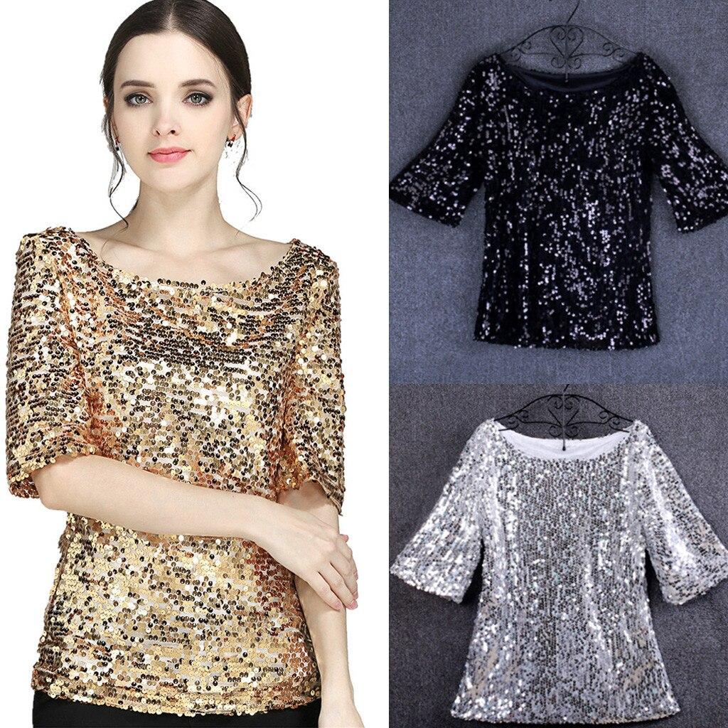 Blusa para as mulheres lantejoulas brilhantes cocktails casual camisas 2019 novas camisas de roupas de rua retro topos moda camisas mujer #38