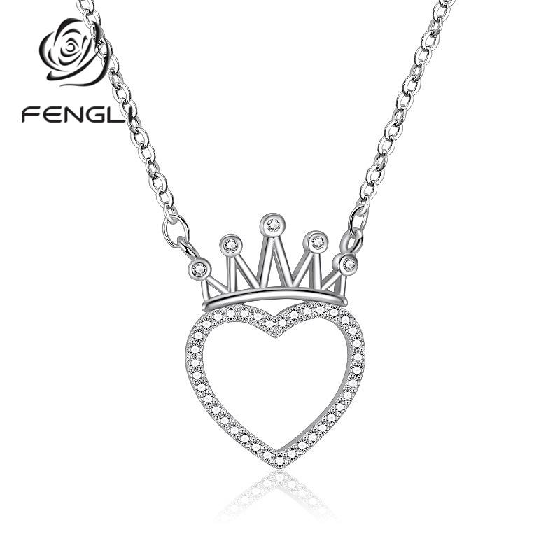 FENGLI-collares De corona De Color Plata 925 completamente transparentes estilo De cristal,...