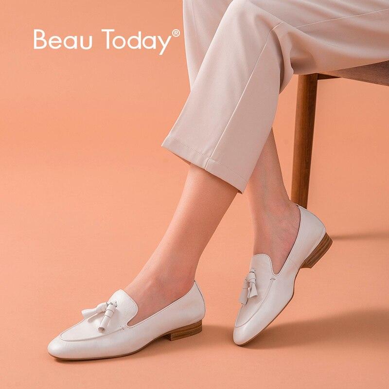 Mocasines BeauToday para mujer, cuero de vaca auténtico, flecos, punta cuadrada, deslizamiento, primavera Otoño, zapatos planos para mujer hechos a mano 27147