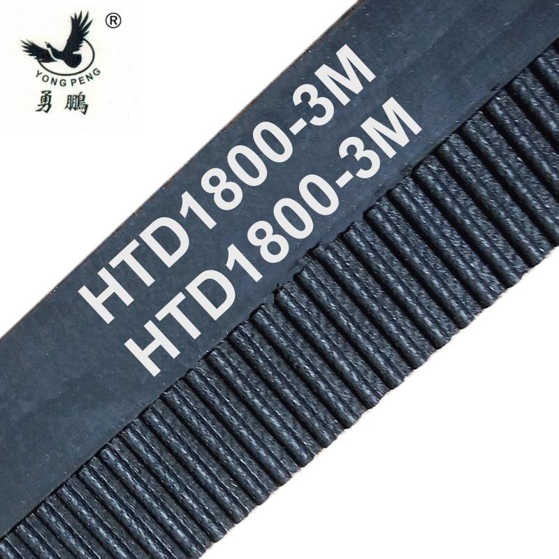 2 piezas HTD1800-3M longitud de sincronización 1800mm Anchura 9 15 20mm caucho cerrado-Bucle 1800 HTD3M STD S3M máquina CNC con polea de ajuste