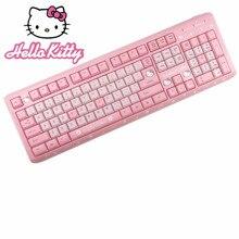 Hello Kitty rose silencieux bonjour KT chat clavier sans fil filles mignonnes Ultra-mince ordinateur sans fil clavier pour les filles de bureau