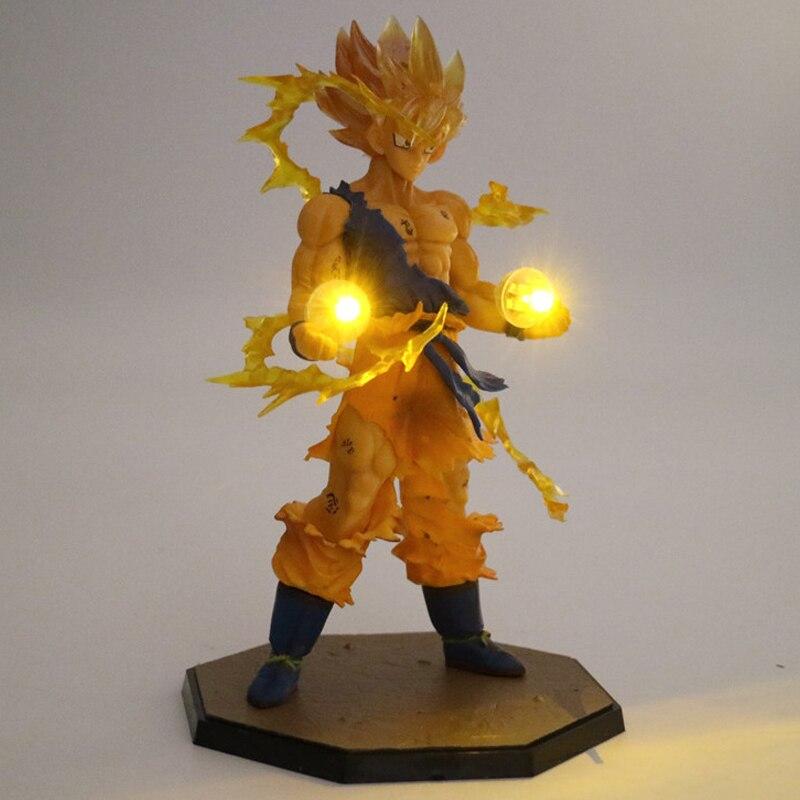 Anime Dragon Ball Z Son Goku luz LED Super Saiyan PVC acción figura juguete de modelos coleccionables luz de noche para niños regalo decoración lámpara