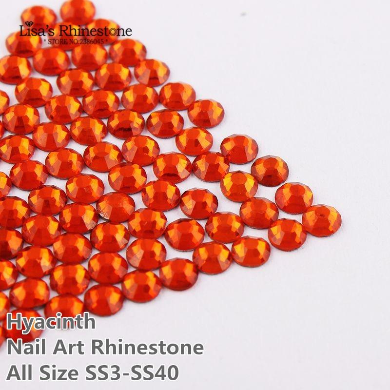 SS3-SS34 arte de uñas Jacinto naranja no HotFix Cristal de diamantes de imitación Glitter en diamantes de imitación para uñas DIY Beauty