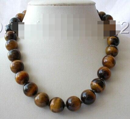 Heißer verkauf Edel-KOSTENLOSER VERSAND atemberaubenden großen 12mm runde gelb rohöl Tigerauge naturstein perlen halskette