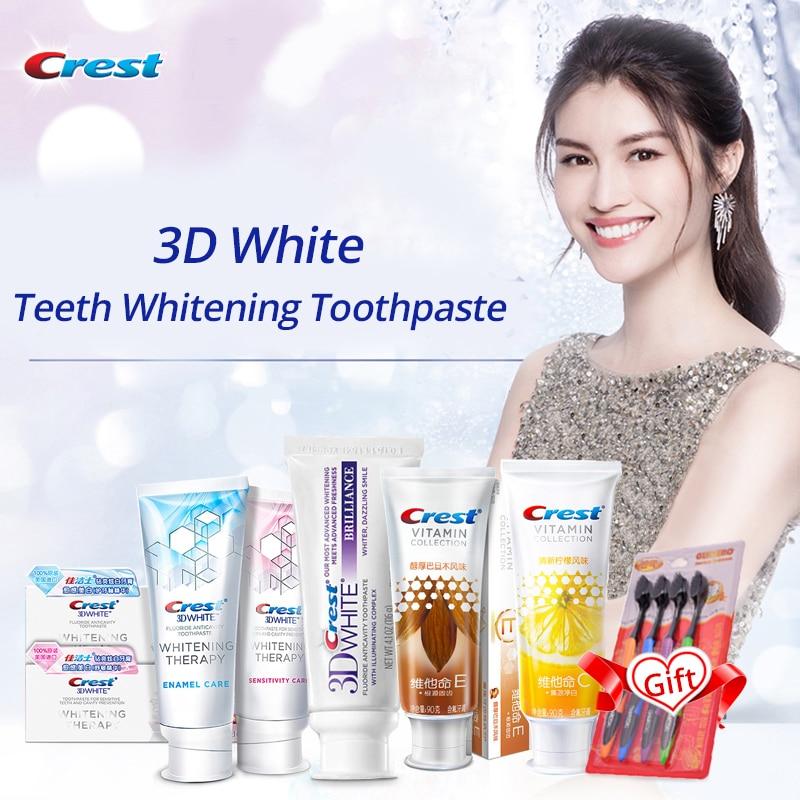 Crista 3d creme dental branco sensibilidade cuidados vitamina fórmula clareamento com flúor limpeza profunda goma cuidados remover a mancha dos dentes