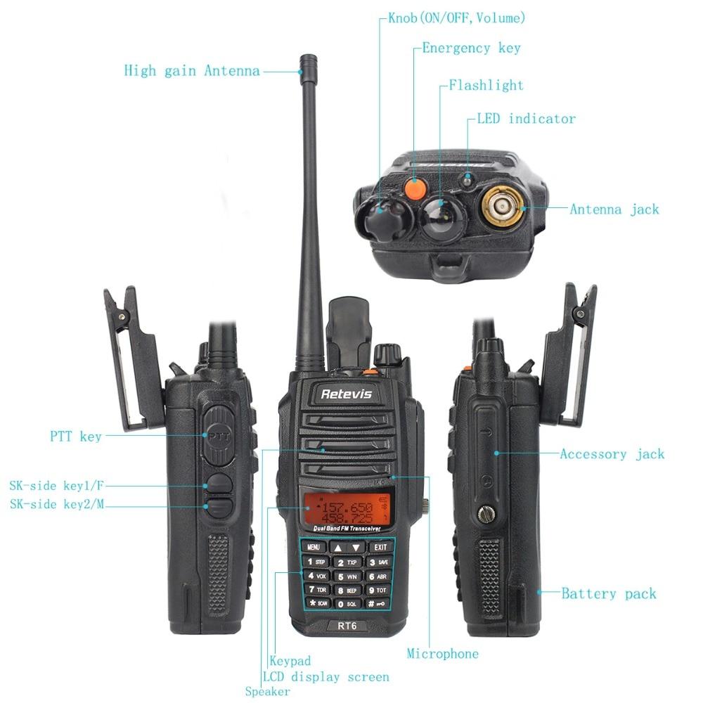 2pcs Retevis RT6 Walkie Talkie Dual Band VHF UHF Radio FM Radio IP67 Waterproof VOX SOS Alarm Professional Ham Radio Station enlarge