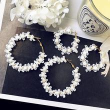 Nouveau élégant blanc fleur dentelle grand cercle boucles doreilles, personnalisé longues boucles doreilles boucles doreilles déclaration boucles doreilles pour les femmes Oorbellen