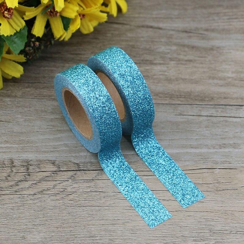 1X azul papel Washi brillante cinta papelería japonesa Scrapbooking decorativo cintas cinta adhesiva Kawai Adesiva Decorativa