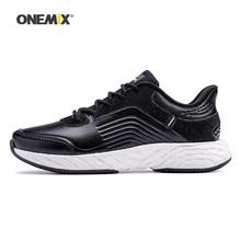 Onemix 남성용 운동화 여성용 블랙 가죽 에어 트레일 운동화 스포츠 야외 체육관 피트니스 조깅 워킹 트레이너