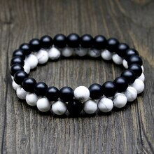 Natural Black Onyx/Matte Onyx/Tridacna/White Howlite Stone Bead Bracelet Elastic Rope Chain Mala Bracelets for Men Women