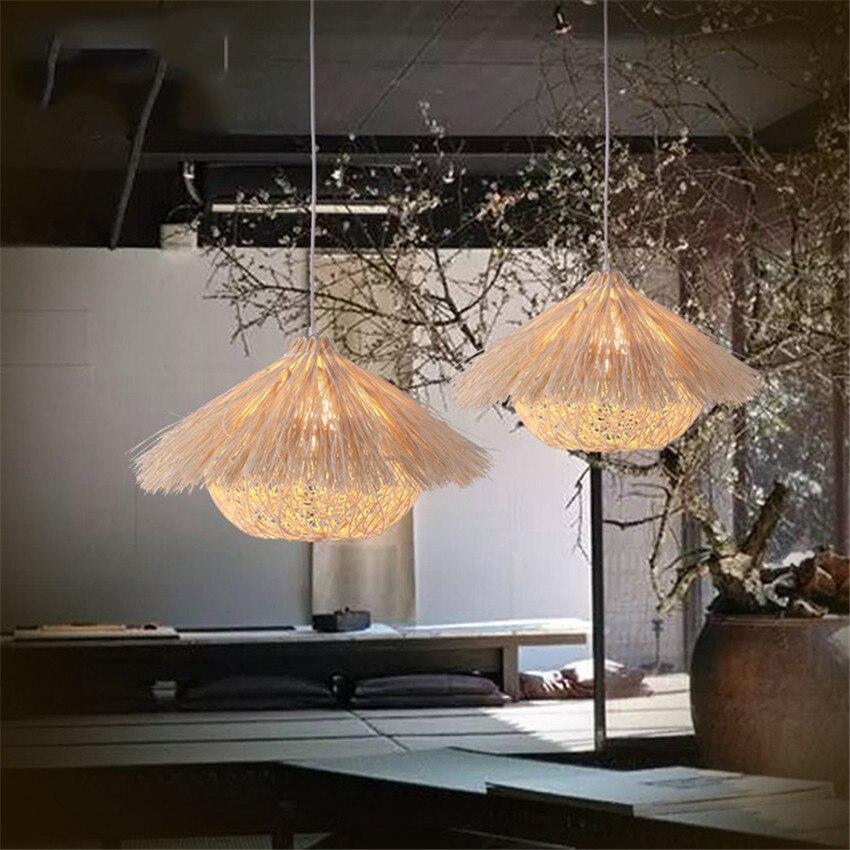 عش الطائر النمذجة قلادة مصباح اليد المنسوجة الروطان قلادة أضواء مطعم غرفة نوم شرفة مصباح معلق