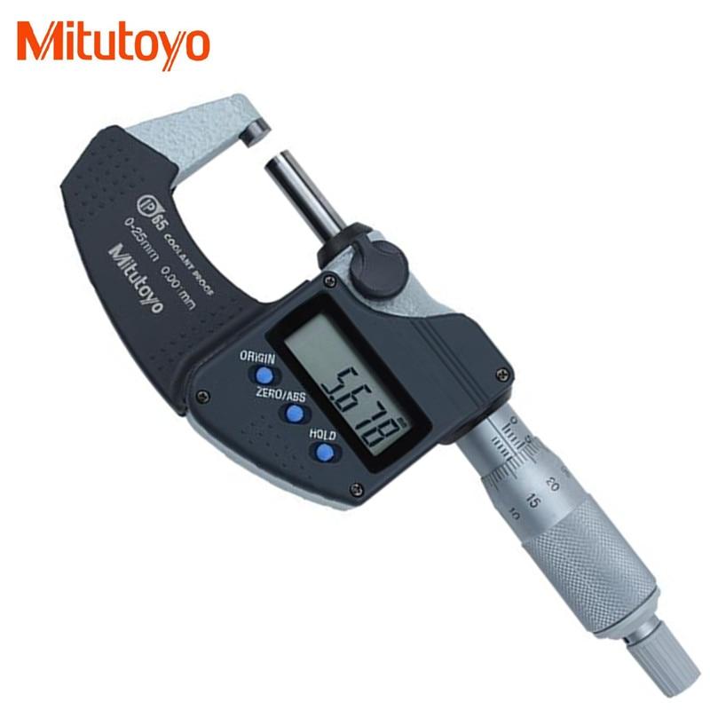 ميكرومتر خارجي رقمي-Mitutoyo أصلي, مقاوم للماء ، أدوات قياس إلكترونية ، 0-25 مللي متر/0.001 293-240-30 IP65