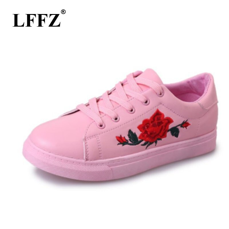 LFFZ Women Lace-up Shoes Fashion Women's Straps Sneakers Embroidery Flower Shoes Women's Vulcanize Shoe Female Girls ZLL43