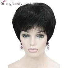 Perruques synthétiques courtes et lisses noires fortes   Perruques beauté résistantes à la chaleur pour femmes