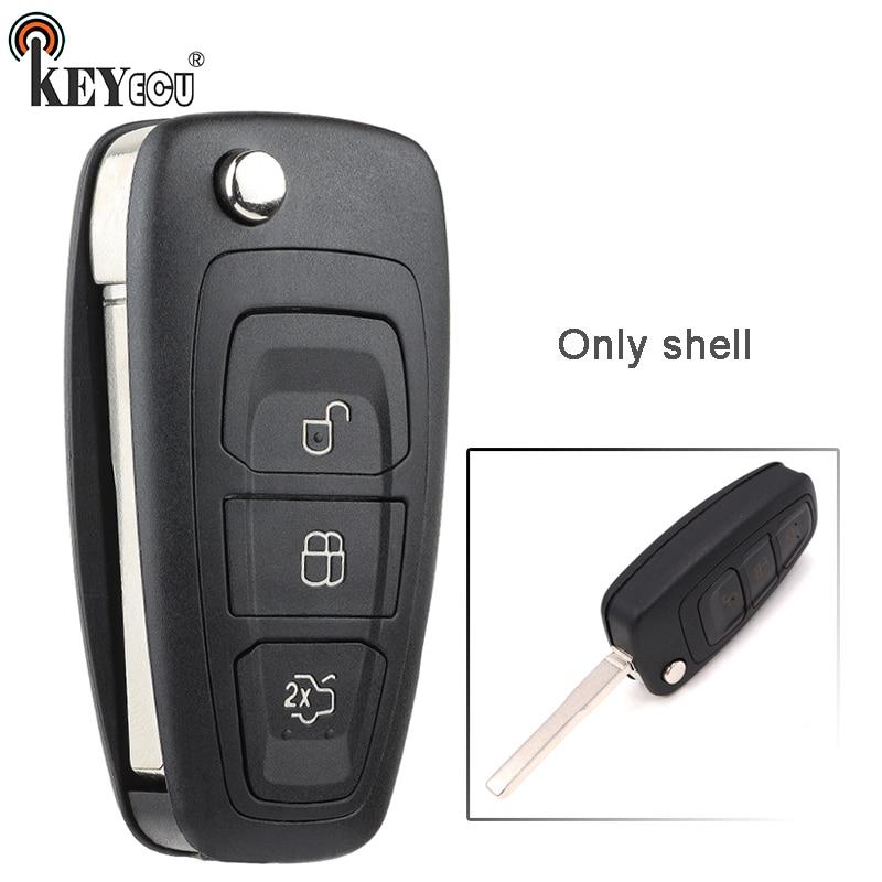 KEYECU для Ford Focus S Max Galaxy Fiesta Mondeo, запасной чехол с дистанционным управлением, брелок с 3 кнопками, лезвие HU101