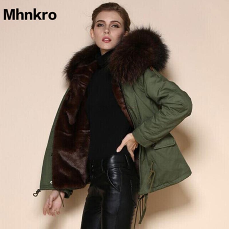 Mhnkro 2018 Novas Mulheres Inverno Quente Outwear Brown Ladies Faux Fur Parka Com Capuz Guaxinim Casaco Do Exército Jaqueta Mr Mrs
