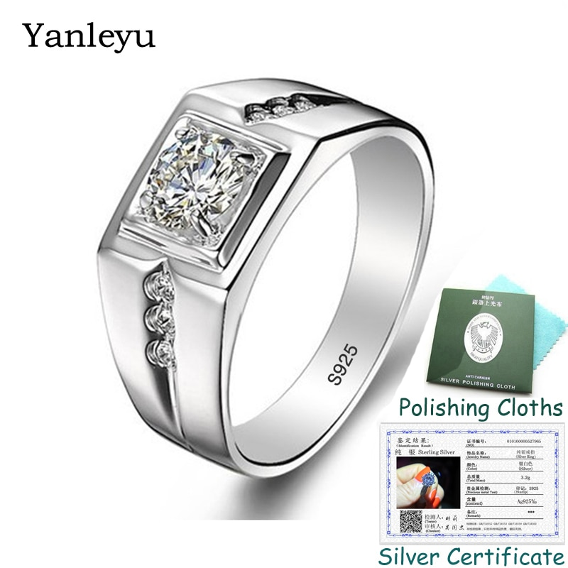 Send Silver Certificate! Yanleyu Original Solid 925 Sterling Silver Wedding Ring for Men Fashion Zircon CZ Engagement Ring PR314