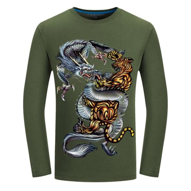 Camiseta de hombre 2019 primavera otoño nueva Camiseta de algodón hombres 3D dragón estampado de tigre camiseta de moda o-cuello de manga larga Tops camisetas 5XL 6XL