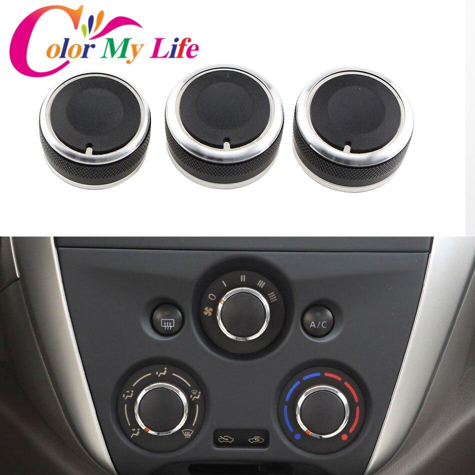 Color My Life 3 unids/set coche de estilismo para aire acondicionado interruptor de control de temperatura AC mando Clip para nuevos Nissan Sunny DE MARZO accesorios de coche