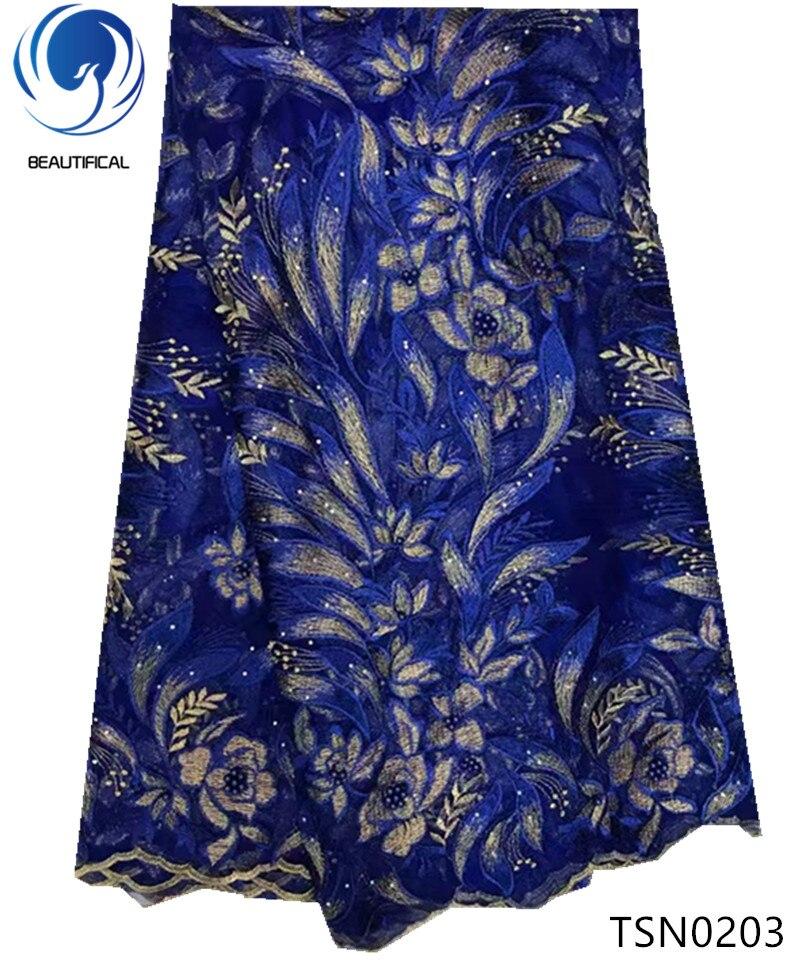 Красивая африканская ткань, синий вышитый узор, дизайн, тюль, кружевная ткань с бусинами, Новое поступление, французское кружево для платья TSN02