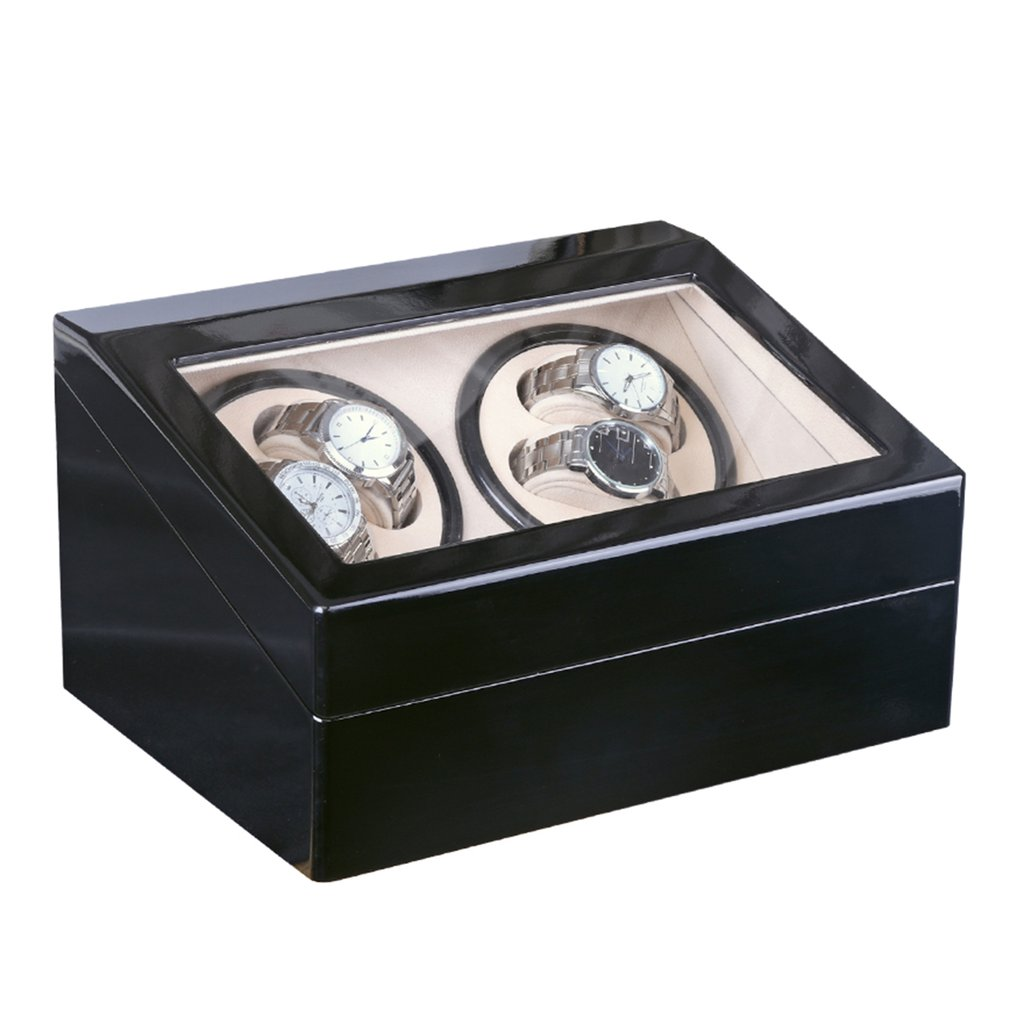 Luxury 4+6 Automatic Mechanical Black Watch Box High Class Motor Shaker Watch Winder Jewelry Holder