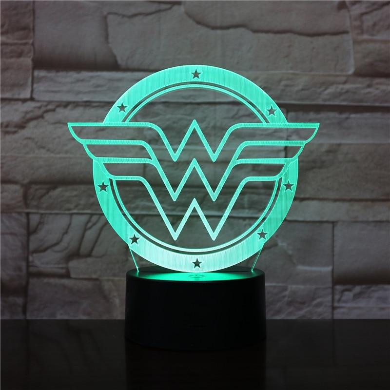 Logotipo da mulher maravilha usb 3d led night light dos desenhos animados super-herói meninos crianças presentes de aniversário lâmpada mesa cabeceira dc liga da justiça