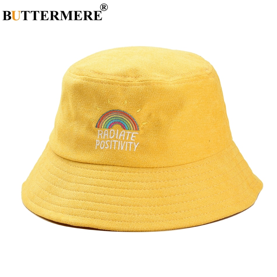 BUTTERMERE Women Bucket Hat Yellow Rainbow Corduroy Fishing Hats Men Summer Vintage Ladies Hip Hop Bucket Hat Street Unisex