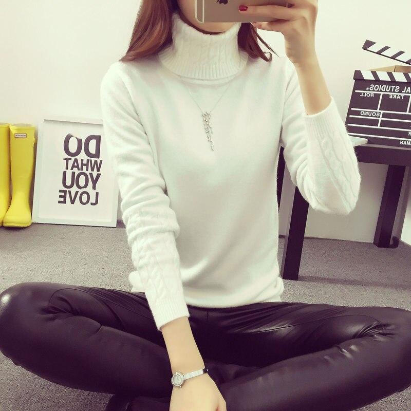 Suéteres y jerseys gruesos de Mujer coreanos de otoño invierno Jersey de Mujer de cuello alto de manga larga de punto sólido Maglioni Donna