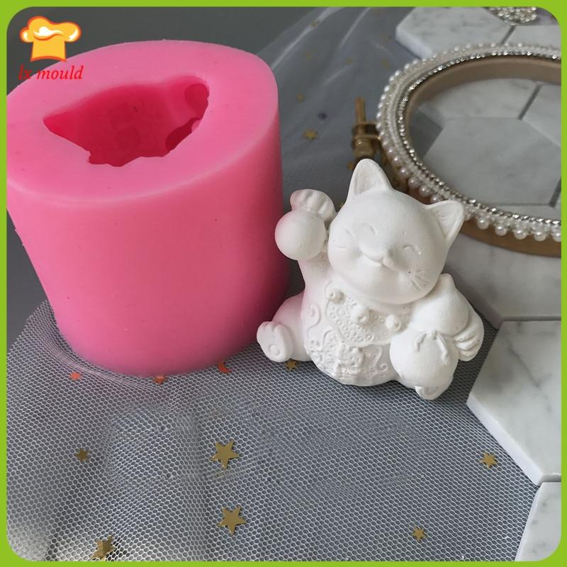 3D szczęście kot silikonowe formy zapach gipsu formy ślubne festiwal mydło wyrabiane ręcznie formy
