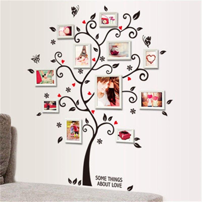 Vinilo decorativo de pared de árbol familiar negro, pegatina de gran tamaño, marco de fotos de vinilo extraíble