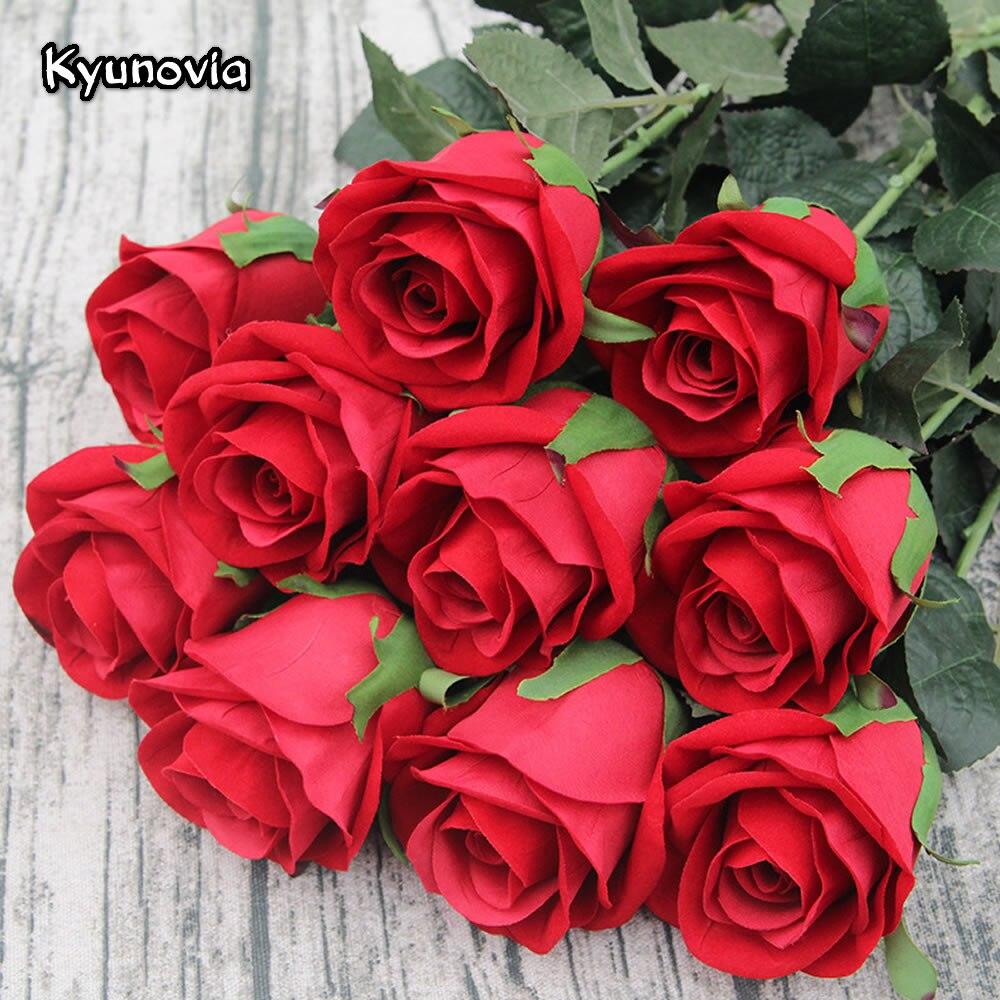 Kyunovia 72CM Single Rose Stem alta calidad Artificial seda flores hojas rojo terciopelo rosa boda Casa de fiesta decorativa KY41