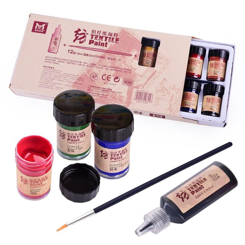 Stof textiel fiber pigment 12 kleur/18 ML acryl handgeschilderde DIY kleding T-shirt canvas schoenen niet vervagen Acryl verf