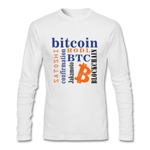 Bitcoin T Shirt Custom Long Sleeve Men's T-shirt Popular Camiseta Masculina O-neck Cotton T Shirts Fitness Men