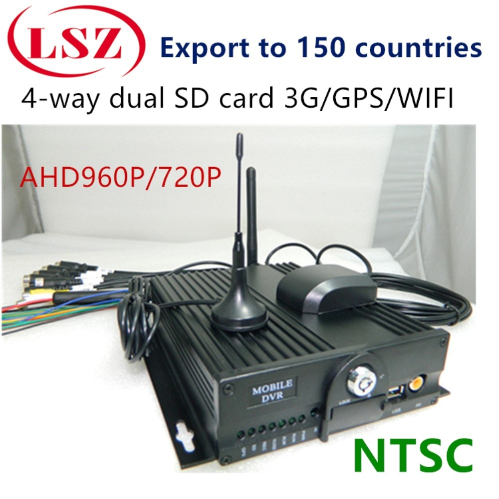 Dual SD camión carga anfitrión 4 grabadora de vídeo de coche MDVR fuente fábrica soporte 3G GPS WIFI