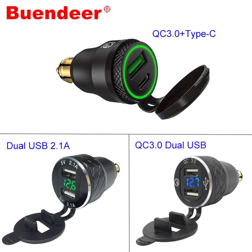 Buendeer Din к USB мотоцикл QC3.0 Быстрая зарядка USB розетка адаптер DIN зарядное устройство для triumph tiger 800 xc BMW R1200RT